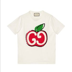 Gucci GG apple print T-shirt white